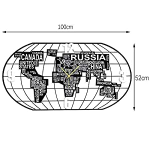 Wall clock Reloj Reloj de Pared Minimalista Moderno de la Sala de Estar 20 Pulgadas (40 * 78cm) (52 * 100cm) Cáscara del Metal del Movimiento silencioso Dial de Madera 1 batería AA 2