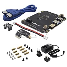GeeekPi 5V 4A Power Supply & X820 2.5 Inch SATA HDD/SSD Storage Expansion Board Kit for Raspberry Pi 1 Model B+/ 2 Model B / 3 Model B