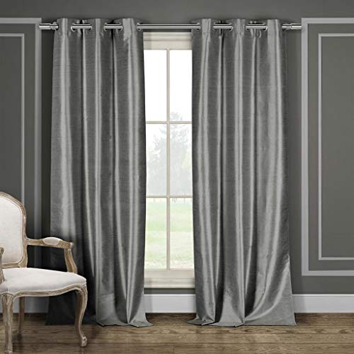 - Duck River Textiles - Bali Solid Faux Silk Grommet Top Window Curtains for Living Room & Bedroom - Assorted Colors - Set of 2 Panels (38 X 84 Inch - Silver) - BALI 9227D=12+