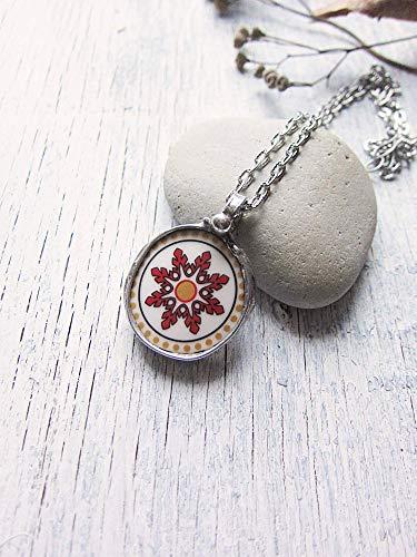 China Snowflake Ornament (Red Snowflake Ornament Pendant, Raw Tiffany Necklace)
