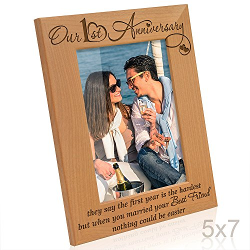 Kate Posh - Our First Anniversary - they say the 1st year is the hardest, but when you married your best friend, nothing could be easier - Picture Frame (5x7 Vertical)