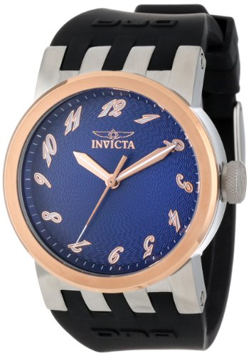 Invicta Men's 12795 DNA Blue Textured Dial Black Silicone Watch, Watch Central