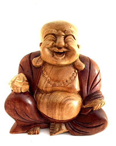 OMA Buddha Statue Solid Wood Carved Happy Buddha Sculpture Laughing Buddha Federal (TM) Brand ()