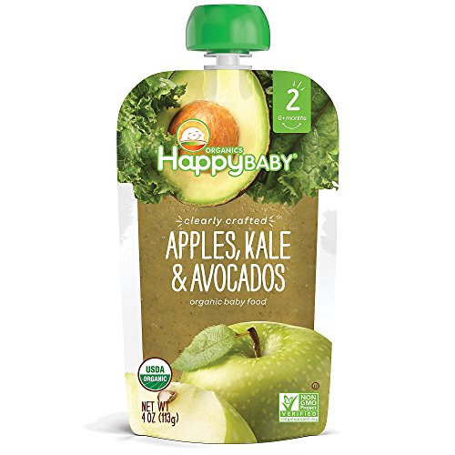 5packs Happy Baby Clearly Crafted, Organic Baby Food, Stage 2, Pears Kale & Spinach, Apples Blueberries & Oats, Apples Kale & Avocados, Pears Zucchini & Peas, Pears Pumpkin Passion Fruit 4oz.