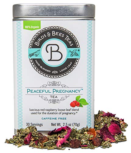 Peaceful Pregnancy Tea – Organic Red Raspberry Leaf - Birds & Bees Teas also includes Nettle, Rosehips, Rose Petals and more – Nourishing and Safe for Your First Trimester through Third Trimester