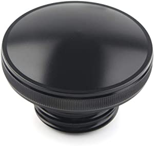 Three T Motorcycle Vented Gas Cap Fuel Oil Tank Cover Right-hand Thread Smooth Black fit for Harley Sportster XL Dyna FXDF Softail Road King 1992-2017, 2015-2017 Freewheeler models, Black