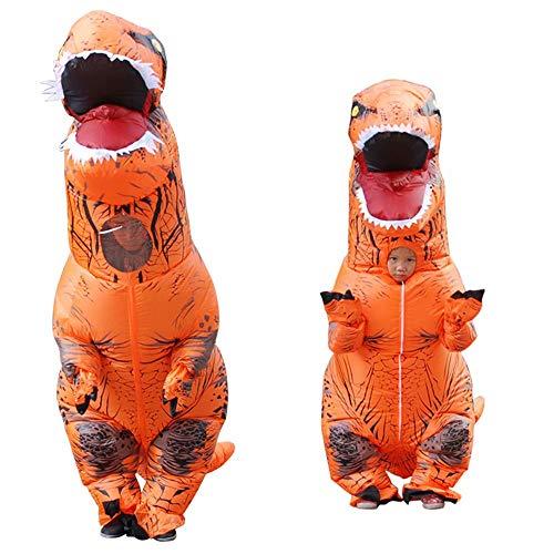 Dinosaur Costume Inflatable T-rex Cosplay Dress Adult Children Halloween Fancy Dress Orange -