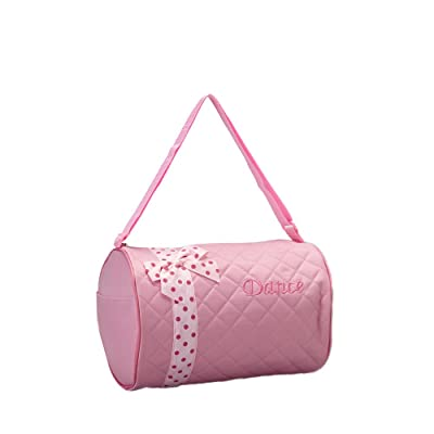 1 Perfect Choice Girl's Dance Bag, Quilted Zebra Duffle, Pink with Polka Dots Ribbon