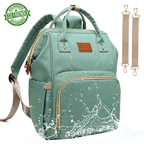 Baby Diaper Bag Backpack - Large Diaper Backpack for Mom Dad with Stroller Straps, Multi-Function, Waterproof, Stylish and Durable Travel Diaper Bags for Girls and Boys (Green)