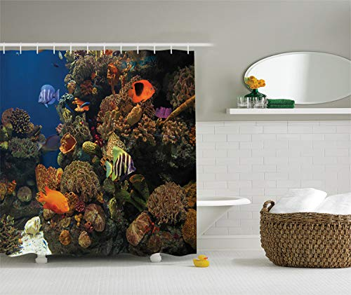 - Ambesonne Ocean Decor Collection, Undersea Wildlife Environment Scene with Colorful Sponge Coral Reefs Tropical Fishes Picture, Polyester Fabric Bathroom Shower Curtain, Orange Blue Olive Green