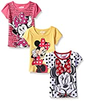 Disney Girls' 3 Pack Minnie Mouse T-Shirts