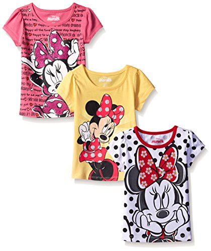 Disney Little Girls' 3 Pack Minnie Mouse T-Shirts, White, 6X