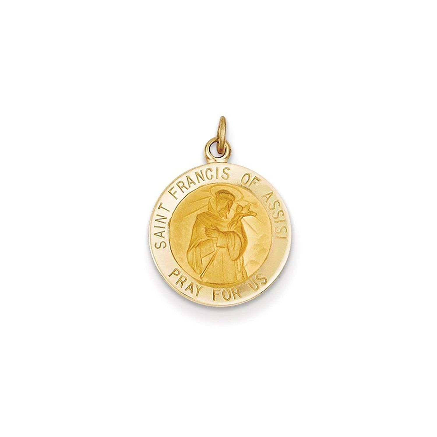 14k Gold Saint Francis of Assisi Medal Charm Pendant (0.91 in x 0.59 in)