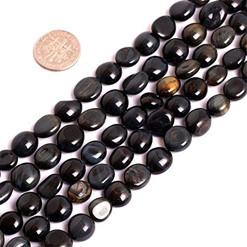 JOE FOREMAN 10x12mm Tiger Eye Semi Precious Gemstone Blue Freeform Loose Beads for Jewelry Making DIY Handmade Craft Supplies 15