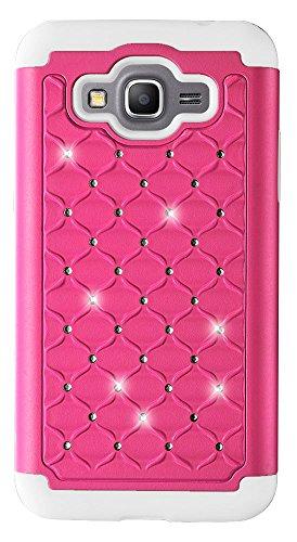 Samsung Galaxy Grand Prime Case - Fosmon [HYBO-SD] Diamond Star Sparkle Design Dual Layer Hybrid Case for Samsung Galaxy Grand Prime (Hot Pink/White)