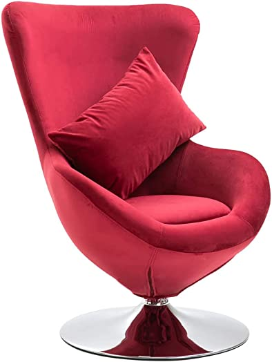 vidaXL Swivel Egg Chair with Cushion Velvet French Sofa Chair Armchair Bedroom Chair French Armchair Office French Style Furniture Comfortable Red