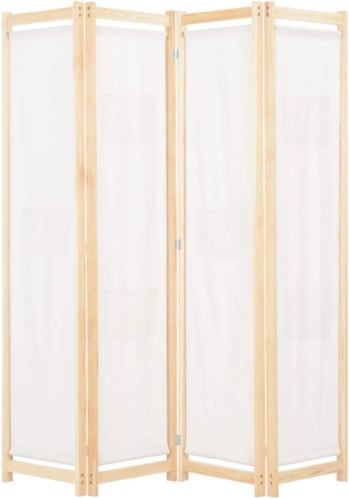 vidaXL Biombo Divisor de 4 Paneles de Tela Decoración Hogar Casa Jardín Bricolaje Salón Comedor Ambientes Habitaciones Separador 160x170x4 cm Crema
