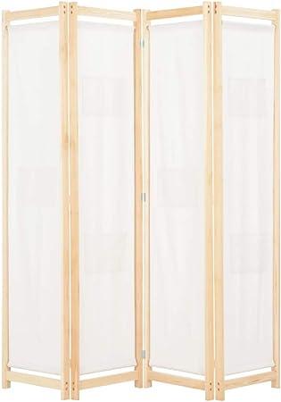 vidaXL Biombo Divisor de 4 Paneles de Tela Decoración Hogar Casa Jardín Bricolaje Salón Comedor Ambientes Habitaciones Separador 160x170x4 cm Crema: Amazon.es: Hogar