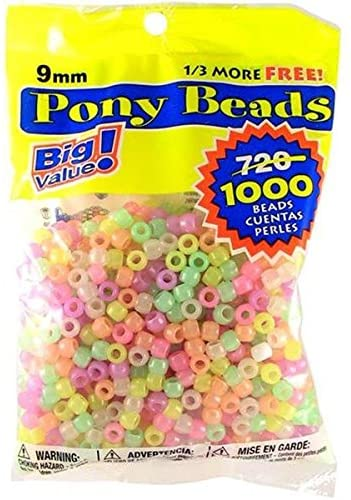 1 lb Bead Jewelry 9mm Diameter Ornaments Darice Assorted Pony Beads Great Craft Projects for All Ages Round Plastic Bead With Center Hole Hair Beading Bag Key Chains