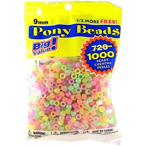 Darice Glow in the Dark Pony Beads - Great Craft Projects for All Ages - Bead Jewelry, Ornaments, Key Chains, Hair Beading - Round Plastic Bead With Center Hole, 9mm Diameter, 1,000 Beads Per Bag -