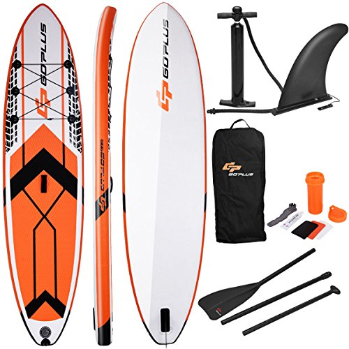 Goplus 10.5 Inflatable Stand Up Paddle Board SUP Cruiser with Fin, Adjustable Paddle Pump and Carry Backpack (Orange)
