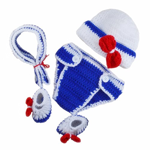 Diy Infant Halloween Costumes (M&G House Baby Newborn Photography Prop Handmade Crochet Knitted Sailor Navy Stripe Anchor Hat Pants)