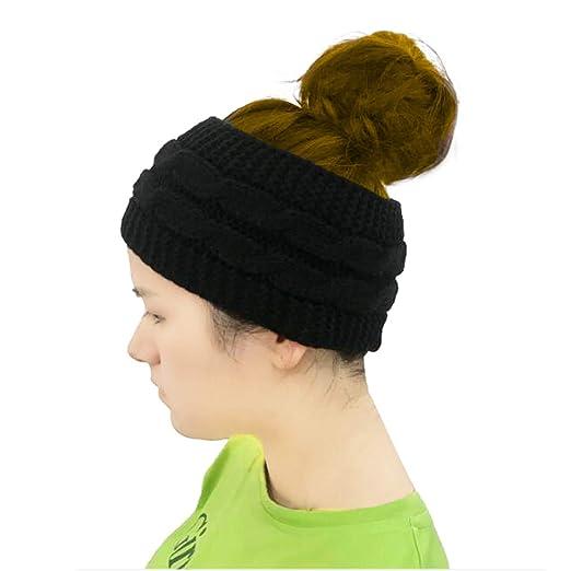 Winter Headband Women s Thick Fuzzy Head Wrap Knit Ponytail Beanie ... 547df4ed680