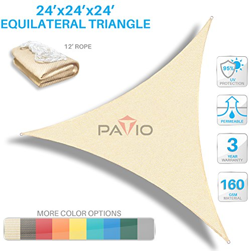 Patio Paradise 24' x24'x 24' Beige Sun Shade Sail Triangle Canopy - Permeable UV Block Fabric Durable Outdoor - Customized Available by Patio Paradise