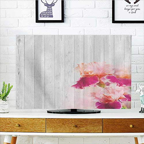 L-QN TV dust Cover Spring Theme Rustic Wood with Sweetpea Wildflower Blossoms Romantic Artsy TV dust Cover W19 x H30 INCH/TV 32