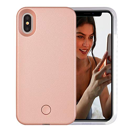 iPhone Xs Max Case, AUYOUWEI LED Illuminated Selfie Light Case Cover [Rechargeable] Light Up Luminous Selfie Flashlight Cell Phone Case for iPhone Xs Max 6.5inch (Rose Gold)