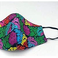 Cubrebocas mexicano impreso hecho a mano en Oaxaca, doble capa con detalle artesanal Modelo: Flores y aves