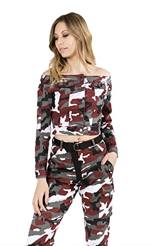 TwiinSisters Women's Basic Classic Casual Destroyed Button Down Denim Jacket - Size Small to 3X (Small, Maroon Camo #Rjk2055) (Urban Camo Jeans)