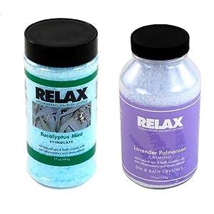 Eucalyptus Mint & Lavender Palmarosa Aromatherapy Crystals –17 & 22 Oz Bottles- Soak Aches, Pains & Stress Relief for Spa, Bath