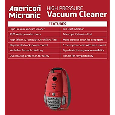 American Micronic- AMI-VCC-2200WDx-2200 Watts Imported Vacuum Cleaner with HEPA Filter and 100% Copper Motor 32KPa Suction (Red) 11