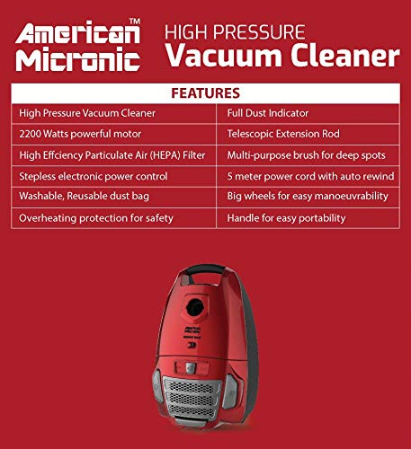 American Micronic- AMI-VCC-2200WDx-2200 Watts Imported Vacuum Cleaner with HEPA Filter and 100% Copper Motor 32KPa Suction (Red) 4
