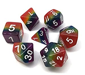 Polyhedral 7-Dice Set Multicolor Gaming Dice for Dungeons and Dragons DND RPG MTG Table Games Dice