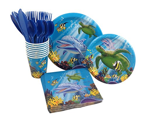 Ocean Animals Birthday Party Supply Pack! Bundle Includes Paper Plates, Napkins, Cups & Silverware for 8 Guests by BirthdayExpress