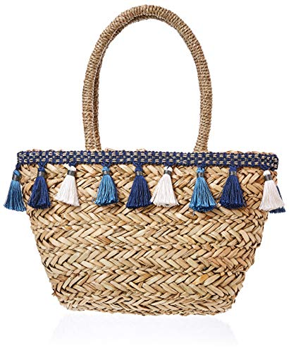 Under Zero Women's Summer Beach Straw Tote Bag with Tassel