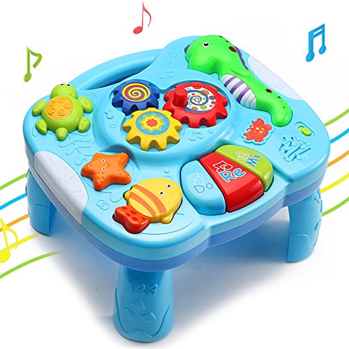 Toddler Music Teach Learning Table - Wishtime 2 in 1 Marine Animal Early Education Music Activity Center Table for Kids, Babies, Toddler for 18+ Months