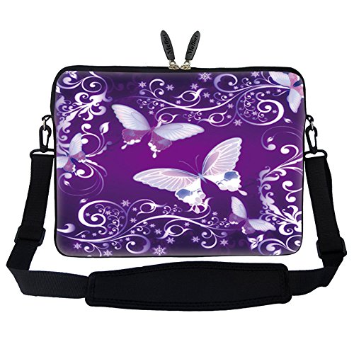 (Meffort Inc 15 15.6 inch Neoprene Laptop Sleeve Bag Carrying Case with Hidden Handle and Adjustable Shoulder Strap - Purple Butterflies )