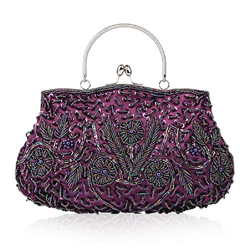 Style Vintage Clutch Color and ZHRUI Evening Purse Handbag Purple virtually Bag Flowers Beautifully Women's Purple Wild Beaded Designed Sequined Wedding gS1q1xEw