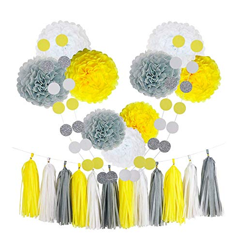 CHOTIKA 23pcs Tissue Paper Flowers Pom Poms Party Decorations Tassel Garland for Baby Sunshine Birthday Party Supplies Bridal Shower Wedding Decorative Decor 100% Premium Paper (Yellow, White, -