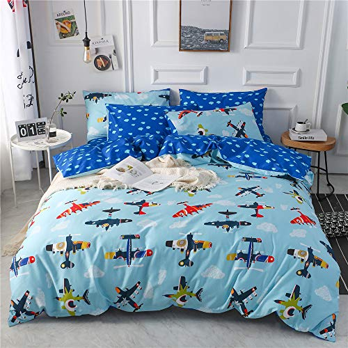 mixinni Kids Twin Size Airplane Printed Boys Blue Duvet Cover Set Soft Cotton Reversible Cloud Pattern Bedding Set with Hidden Zipper Ties for Girls Teens(3pcs, Twin - Kids Airplane Bedding