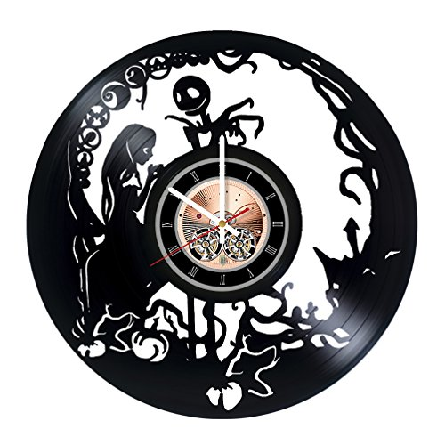 Nightmare Before Christmas Movie Vinyl Record Wall Clock – Nursery room or Home room wall decor – Gift ideas for teens, girls, sister – Unique Art Design