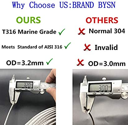 7 x 7 Strands Construction Braided Steel Cable Aircraft Cable for Deck Railing 400FT Wire Rope Cable for Railing Bysn 1//8 T316 Stainless Steel Cable