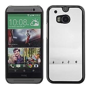 FECELL CITY // Duro Aluminio Pegatina PC Caso decorativo Funda Carcasa de Protección para HTC One M8 // Winter Snow Black White Trees Horizon