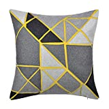 JW Geometric Designs Accent Pillow Cases Decorative Applique Cushion Covers Wool Pillowcases for Home Sofa Car Bed Room Office Chair Travel Decor 18 x 18 inch Yellow