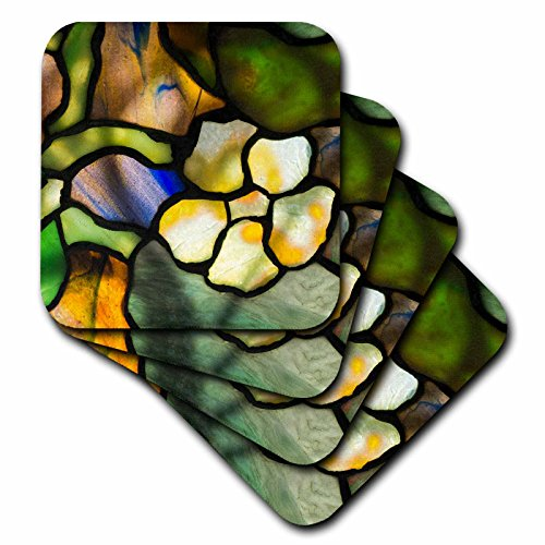 3dRose Danita Delimont - Artwork - New York, Tiffany stained glass lamp shade. - set of 4 Ceramic Tile Coasters (cst_279255_3)