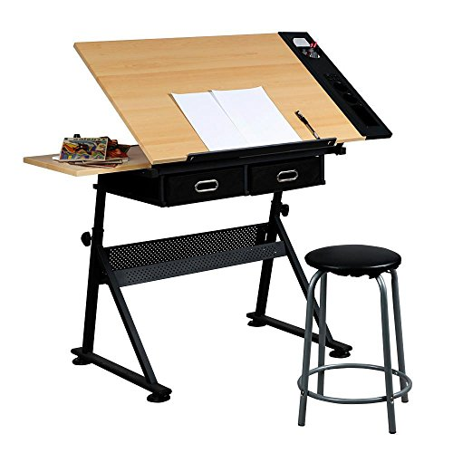 Yaheetech Height Adjustable Drafting Table Desk Drawing Table Desk with P2 Tiltable Tabletop, Stool and 2 Storage Drawers for Reading, Writing,Studying Art Craft Work Station (Cheap Art Desk)