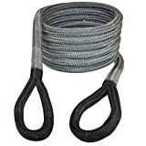 "VULCAN 3/4"" x 20' Off-Road Double Braided Recovery Rope – 19,000 lbs. Breaking Strength – Grey, Black"